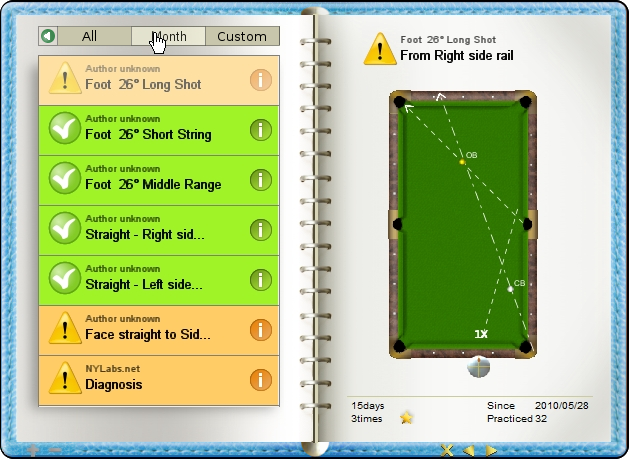 Change view range to month, billiard exercise diary, Billiard Practice Software
