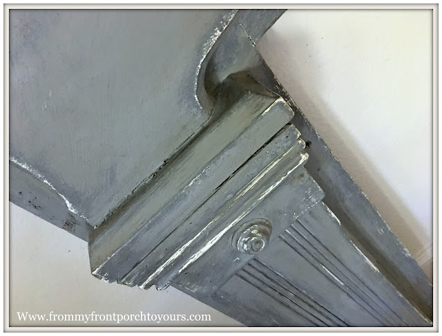Vintage Fireplace Mantel Makeover-Magnolia Home Chalk Style Paint-Layered-Gray-Review--From My Front Porch To Yours