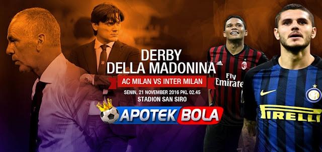 Prediksi Pertandingan AC Milan vs Inter Milan 21 November 2016