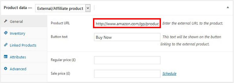 Tambahkan tautan produk Amazon