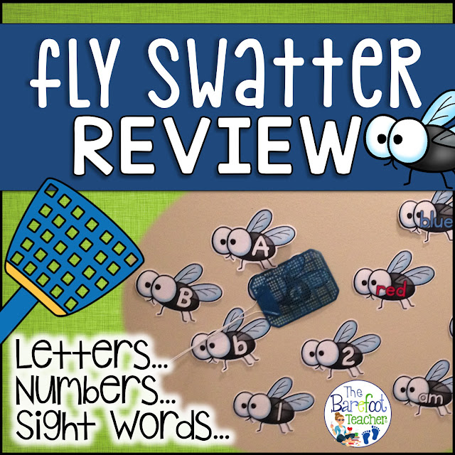 Looking for Back to School activities? This Fly Swatter Game is a fun and fast paced way to practice letter ID, sounds, numbers, color words, and high frequency words! Over 450 flies to print and use. This is a game that will grow with students as they learn. You can use it all year long. #kindergarten #firstgrade #highfrequencywords #sightwords #flyswatter #numbers #colors #learning #printable #alphabet #activitiesforkids #thebarefootteacher