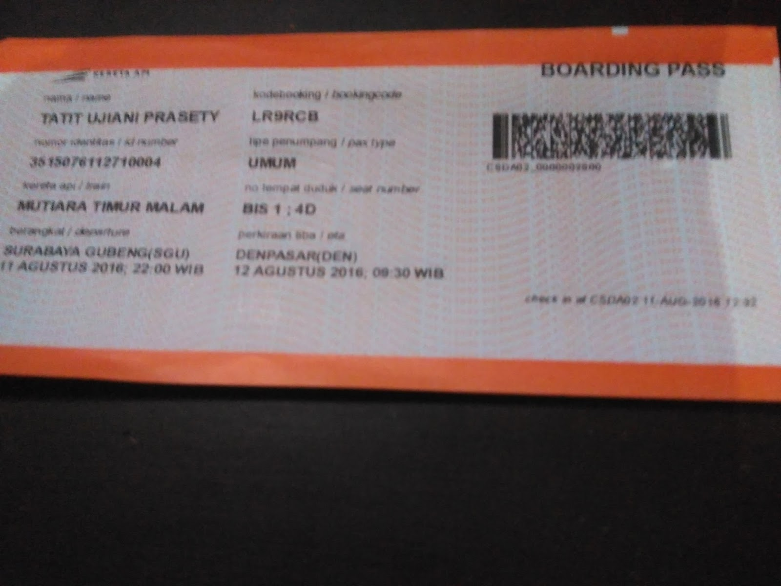 Boarding Dan Check In Tiket Kereta Api Rumah Maya Tatit