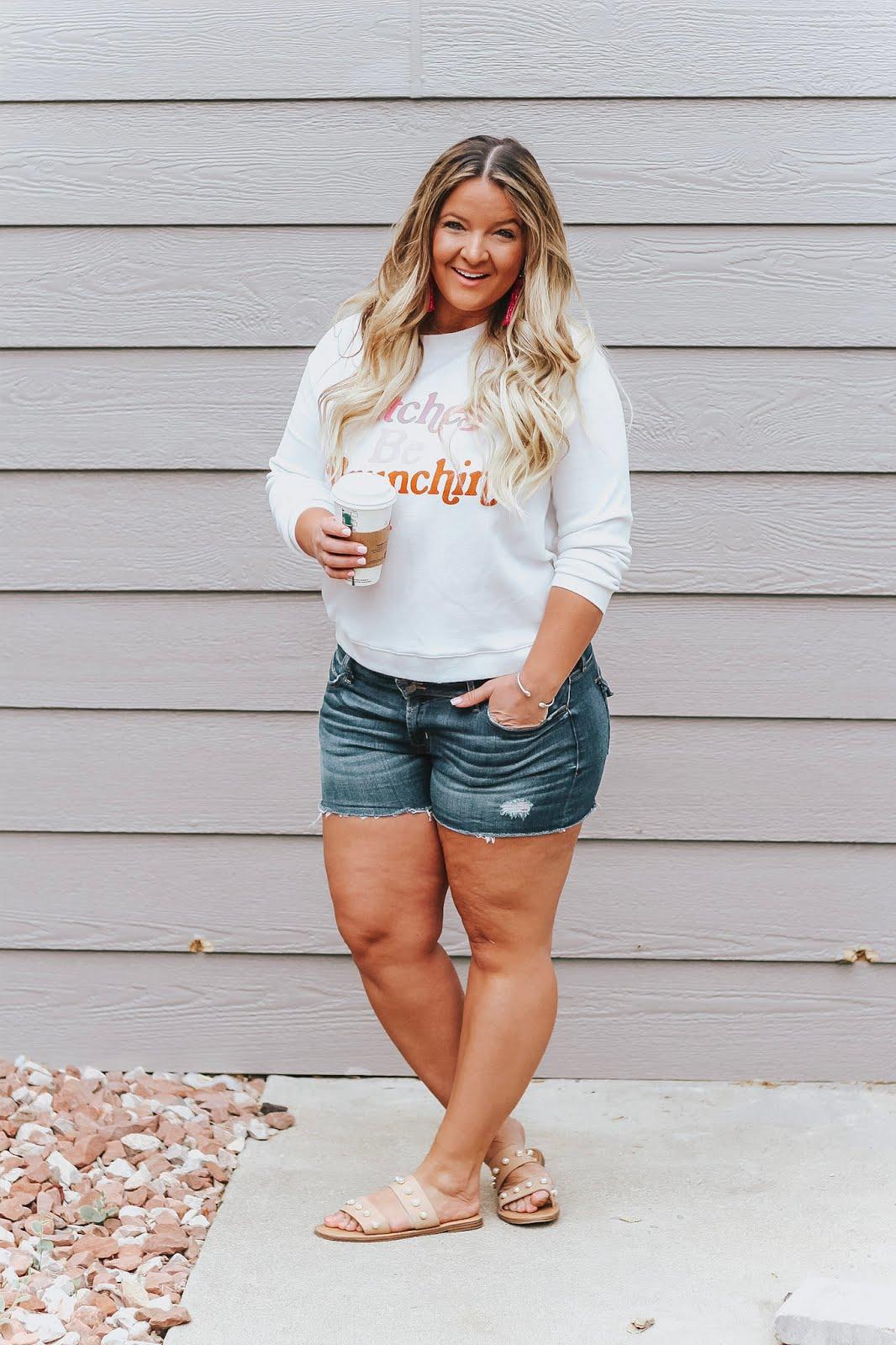 Bitches who brunch sweater styled on top Denver fashion blog, Delayna Denaye