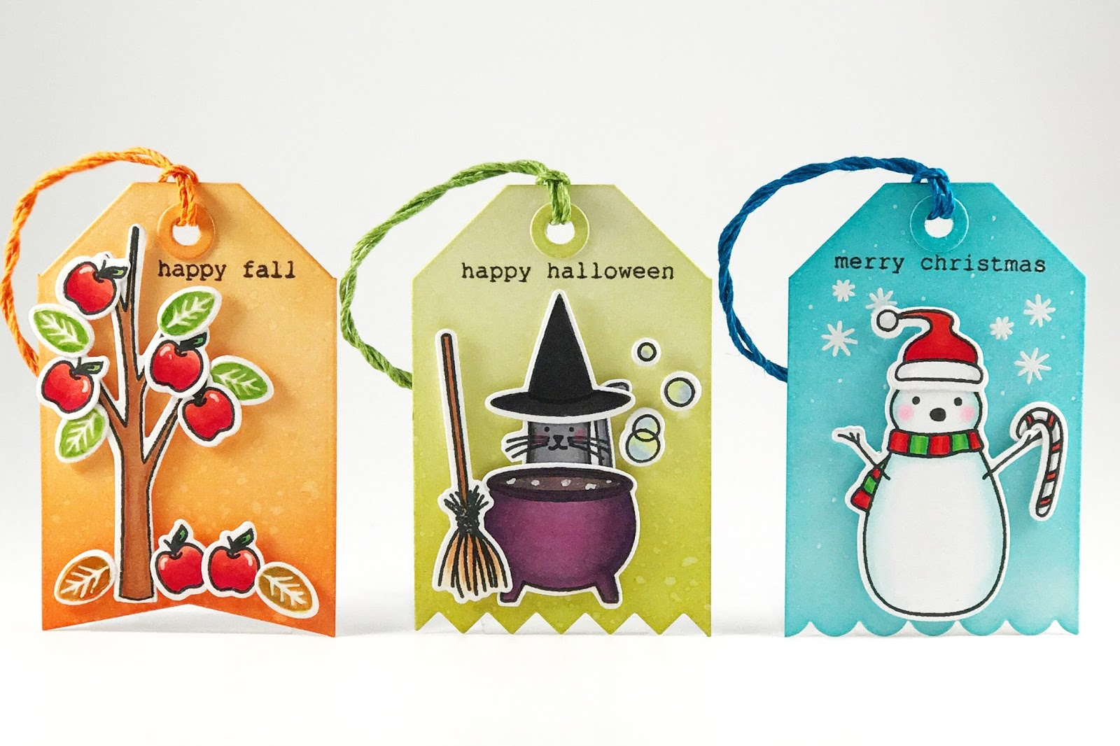 with just one stamp set i was able to create mini fall halloween and christmas scenes how awesome is that i stamped and colored the images from bear - Ellen Halloween 2017