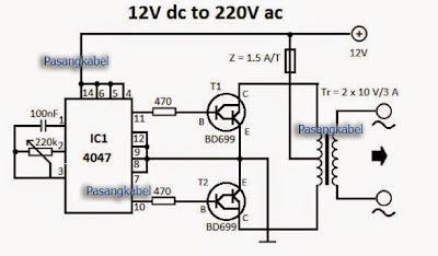 Rangkaian DC to AC menggunakan IC 4047