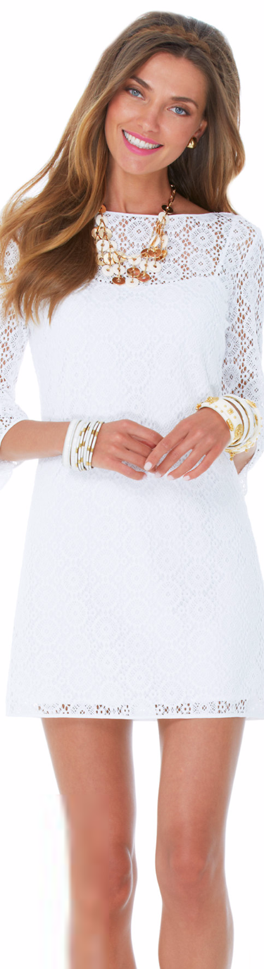 LILLY PULITZER TOPANGA LACE TUNIC DRESS WHITE
