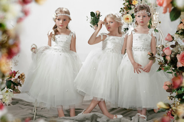 Three Little Flower Girl Wear Cute White Dress