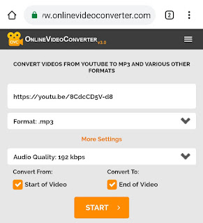 Convert YouTube video to MP3 using online converter