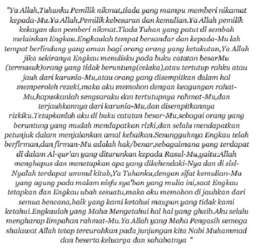 Amalan Bacaan Doa Nisfu Sya'ban Lengkap Arrab Latin Dan Terjemahan