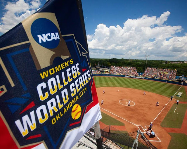 2016 WCWS logo flag sits atop ASA Hall of Fame Stadium in Oklahoma City