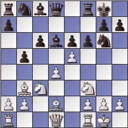 Partida de ajedrez Mora vs. Sanz 1957, posición después de 12.e5!