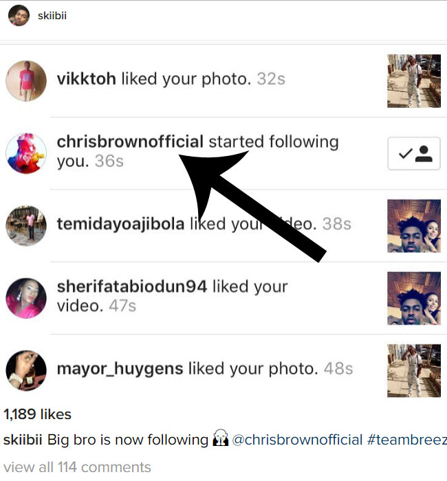 Skibii gushes after Chris Brown started following him on Instagram