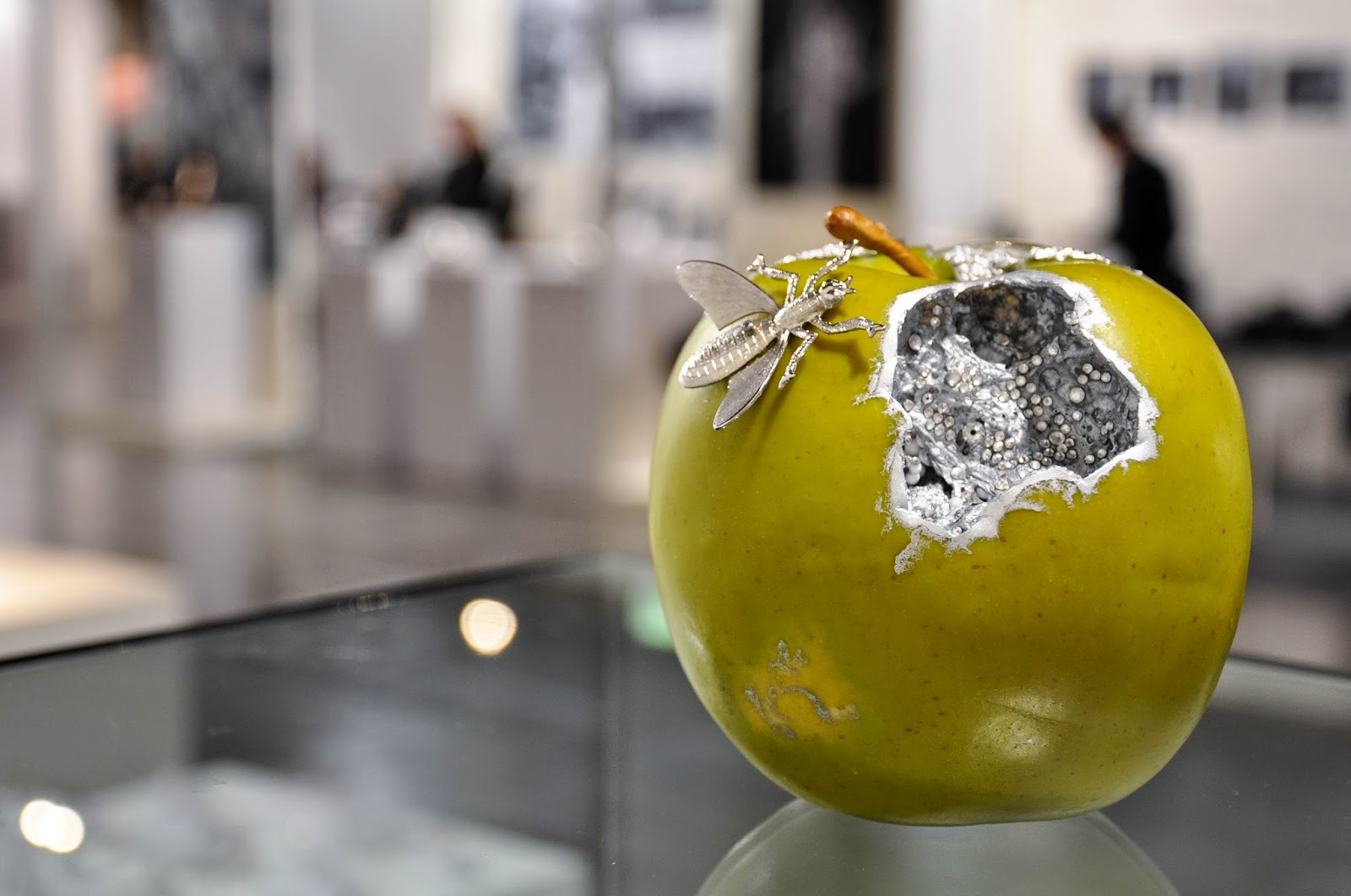 A handmade jewellery apple in the booth of Antoaneta Ivanova of Antoanetta Fine Jewellery at Origin Fair in Vicenza, Italy-3