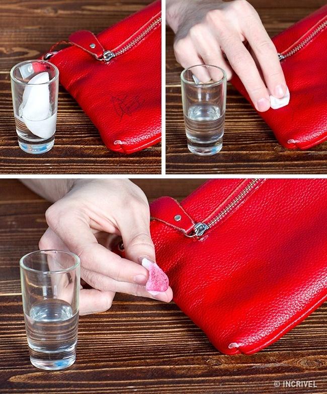 Algodão e vinagre ajudam a tirar tinta da sua bolsa favorita (Reprodução/Incrível)