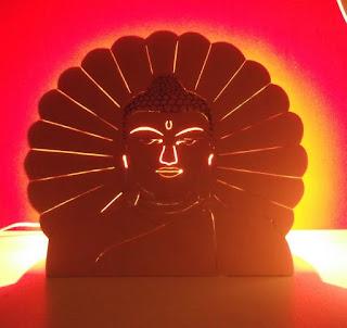 lampe bouddha en bois