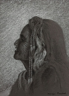 Portrait drawing on toned paper