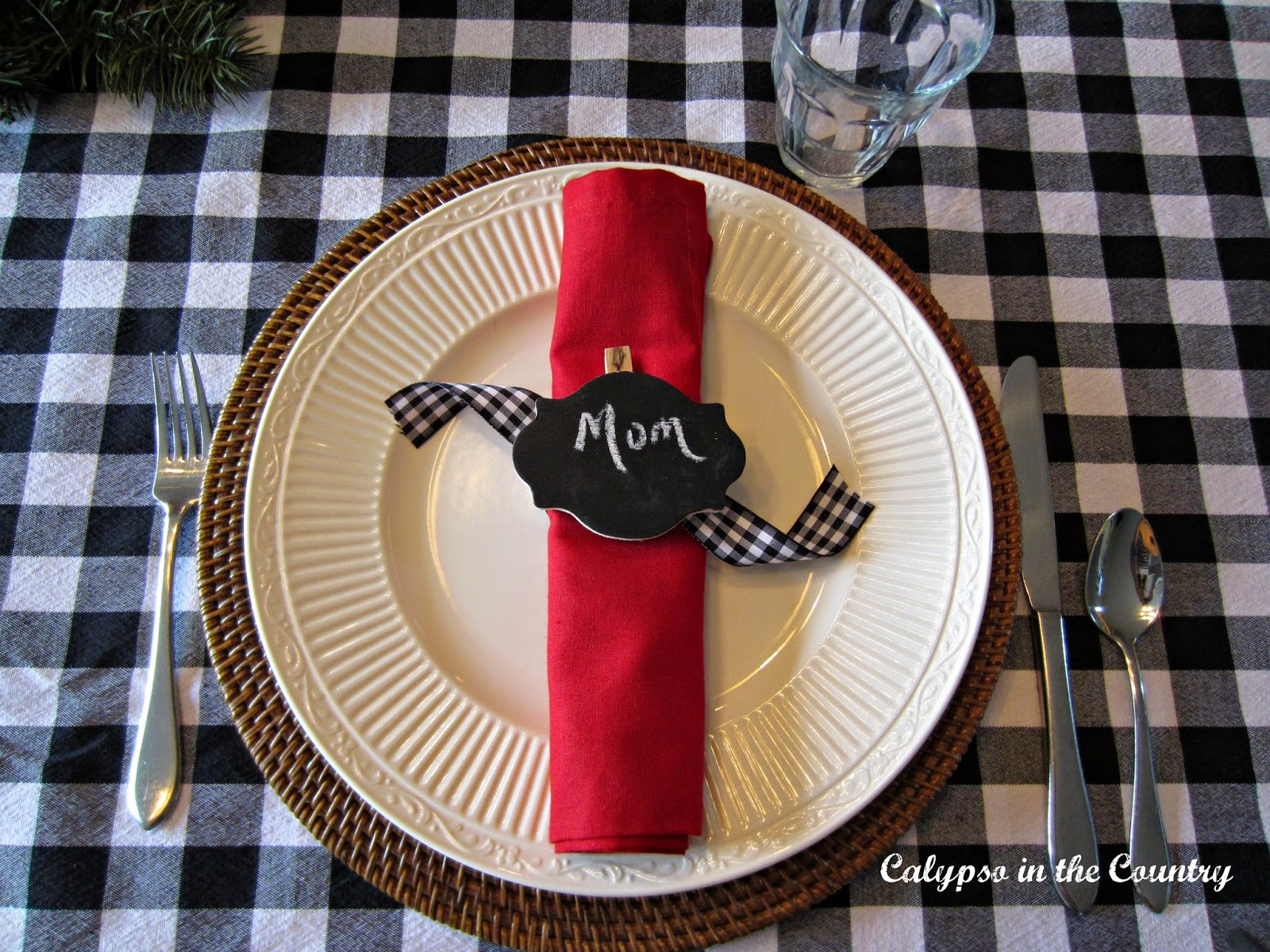 Christmas Breakfast Place Setting with red napkin