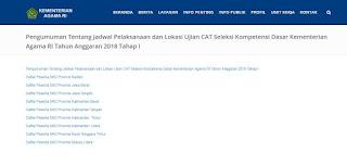 Jadwal dan Lokasi Tes CPNS Kemenag Seluruh Indonesia