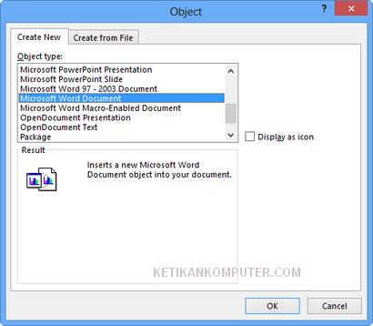 cara memasukkan ms word document di excel