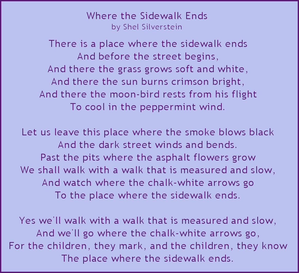 shel silverstein where the sidewalk ends - HD1161×1059