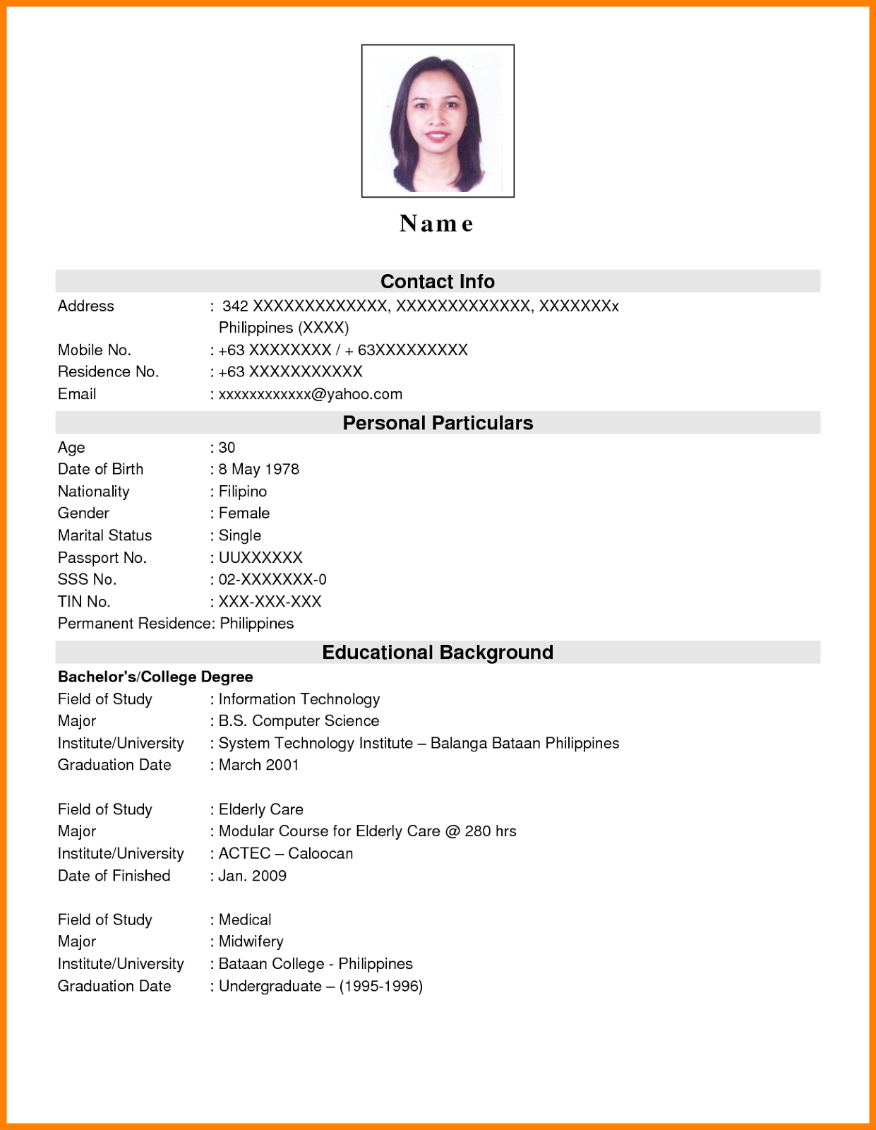 sample resume format for ojt students  philippin news
