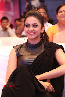 Actress Rakul Preet Singh Stills in Black Saree at Rayudu Movie Audio Launch  0146.JPG
