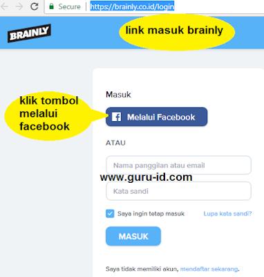 gambar cara masuk brainly lewat facebook