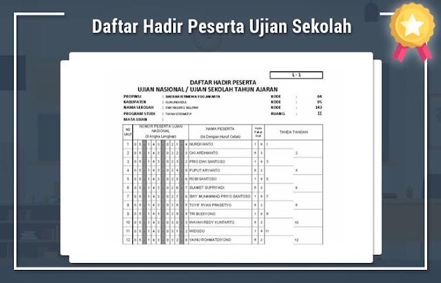 Daftar Hadir Peserta Ujian Sekolah 2017