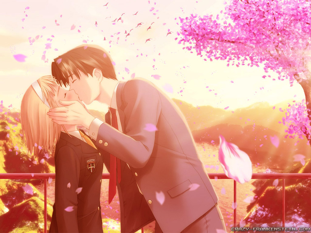 Wallpaper Love Girl Boy Kiss : Romance Anime Love couple kissing images HD