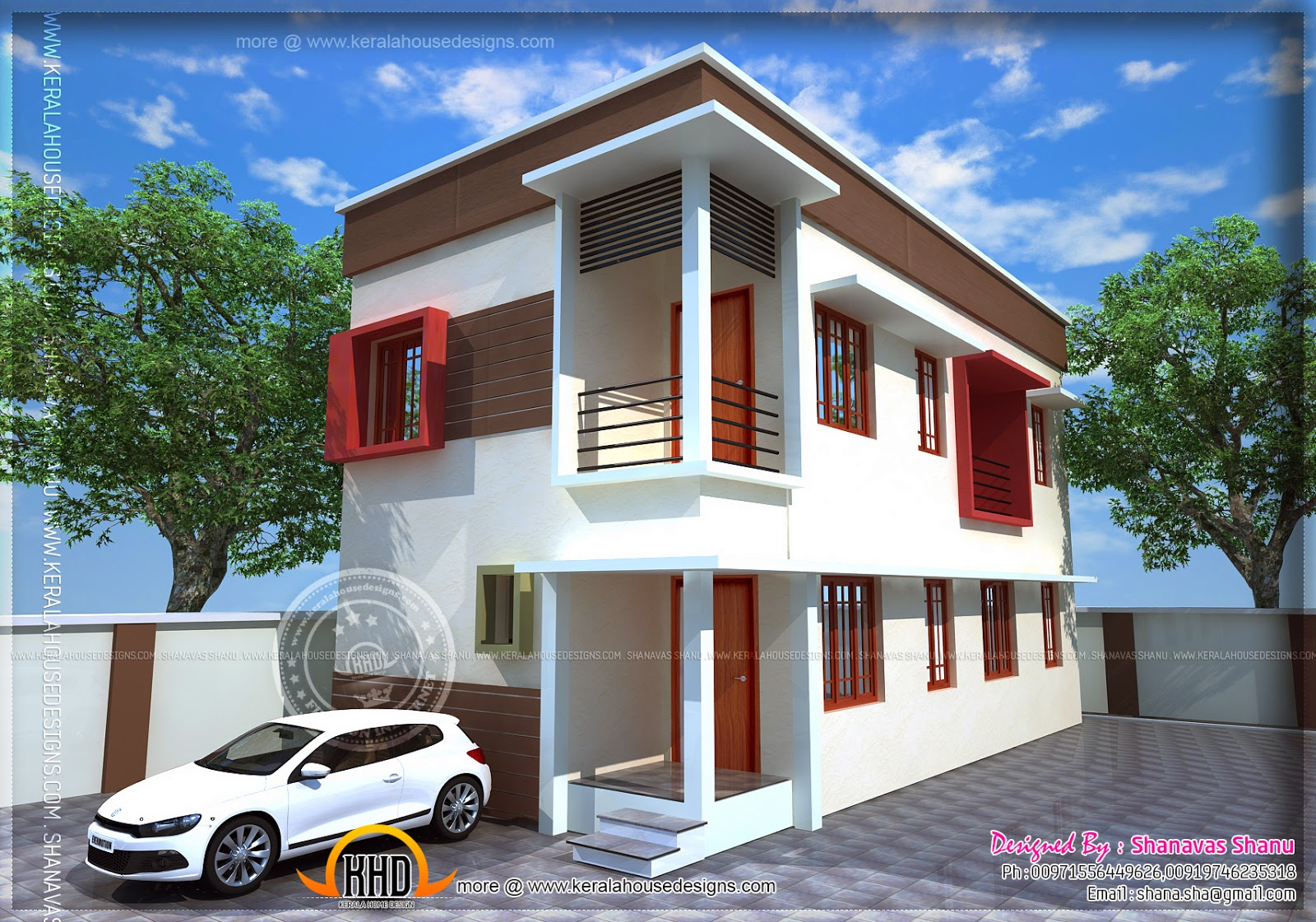 Small plot villa in cents of land kerala home for Indian small house design 2 bedroom