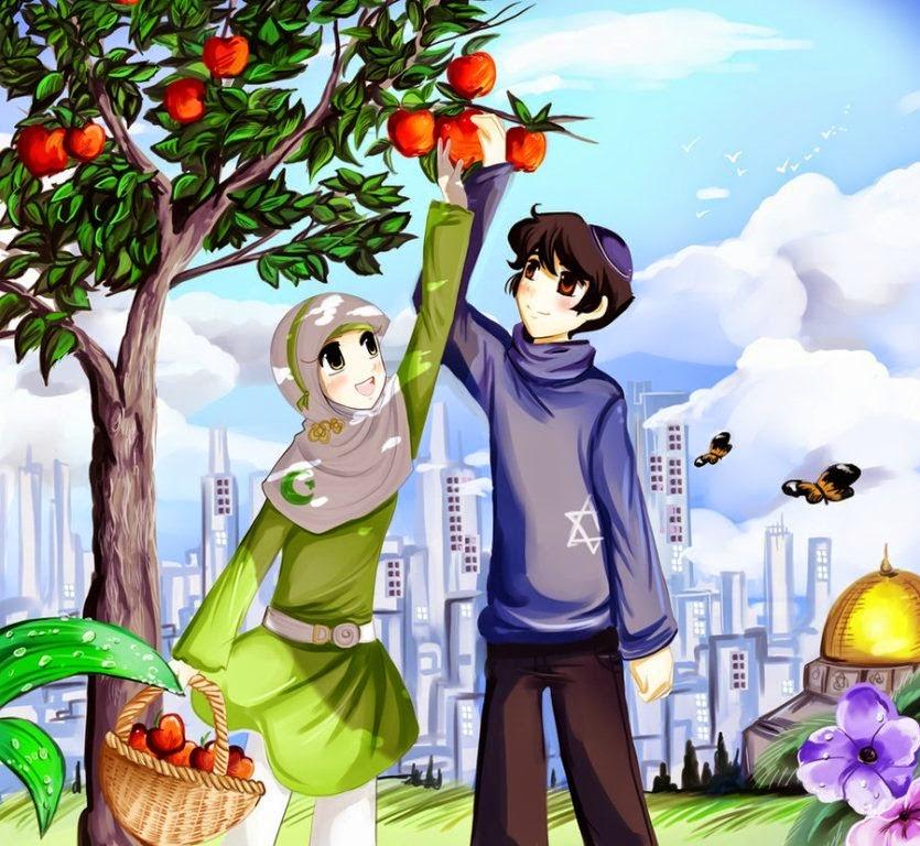 Gambar Anime Muslimah Couple Terpisah Anime Wallpapers