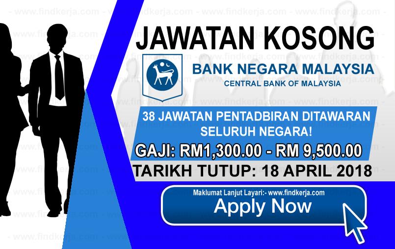 Jawatan Kerja Kosong BNM - Bank Negara Malaysia logo www.findkerja.com april 2018