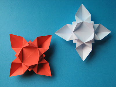 Origami facile Fiore o stella 1- Flower or star 1 © by Francesco Guarnieri