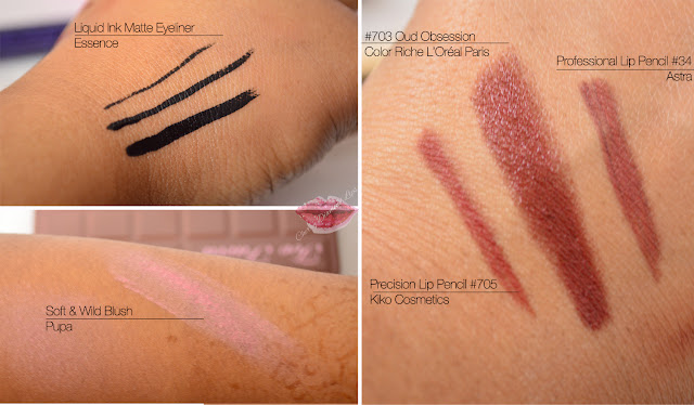 Cherry Diamond Lips, Makeup, Beauty, Soft Wild Blush Pupa, Liquid Ink matte Eyeliner Essence, Astra Professional Lip Liner #34, Precision Lip Pencil #705, Oud Obsession #703 Color Riche L'Oreal Paris, Swatches