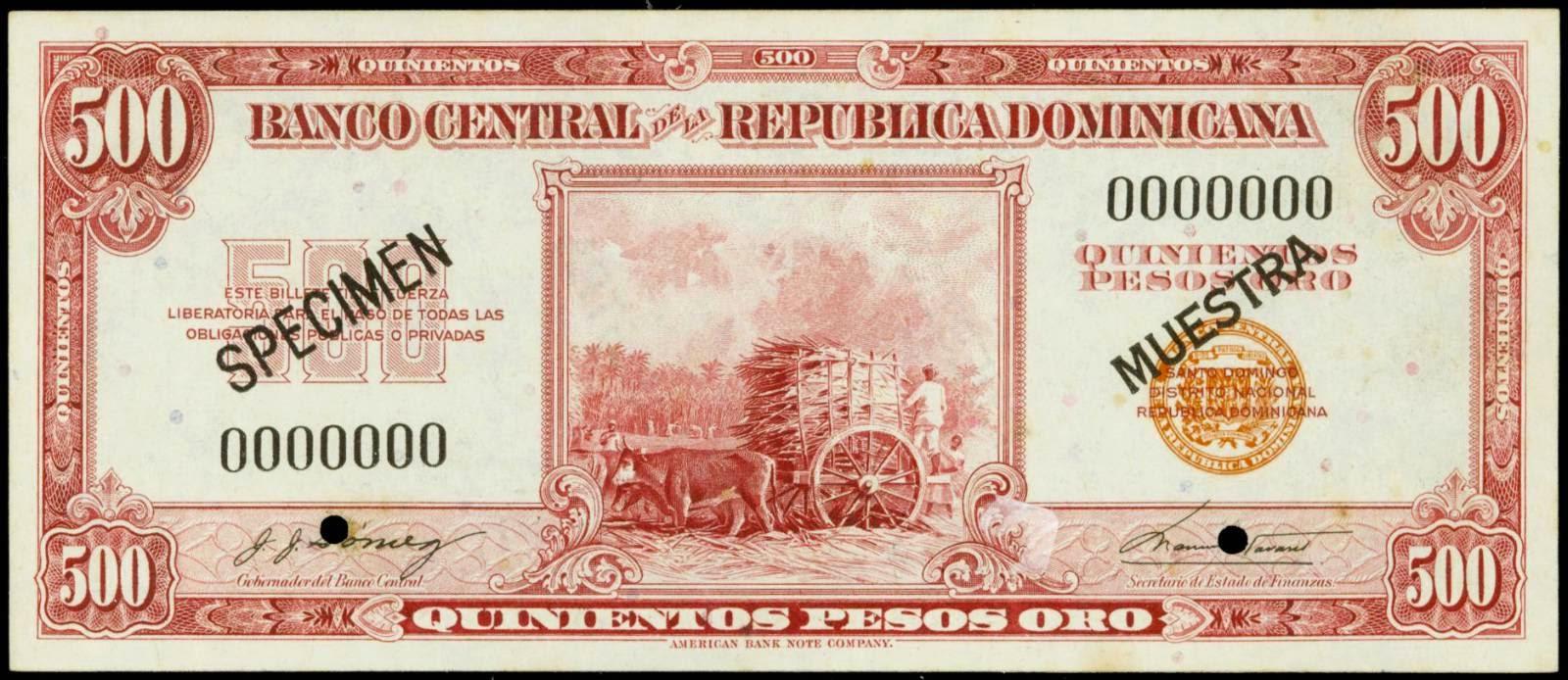 Dominican Republic currency banknotes 500 Pesos Oro