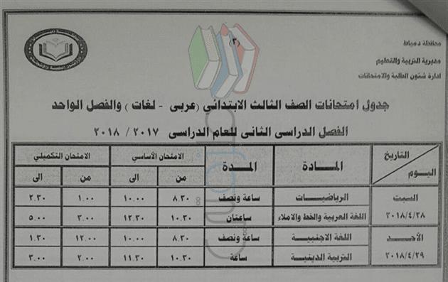 جدول امتحانات الصف الثالث الابتدائي الترم الثاني 2018 محافظة دمياط