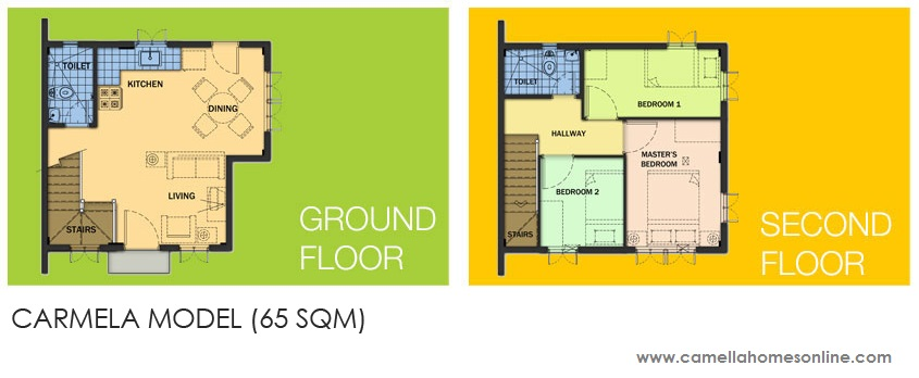 Floor Plan of Carmela - Camella Carson | House and Lot for Sale Daang Hari Bacoor Cavite