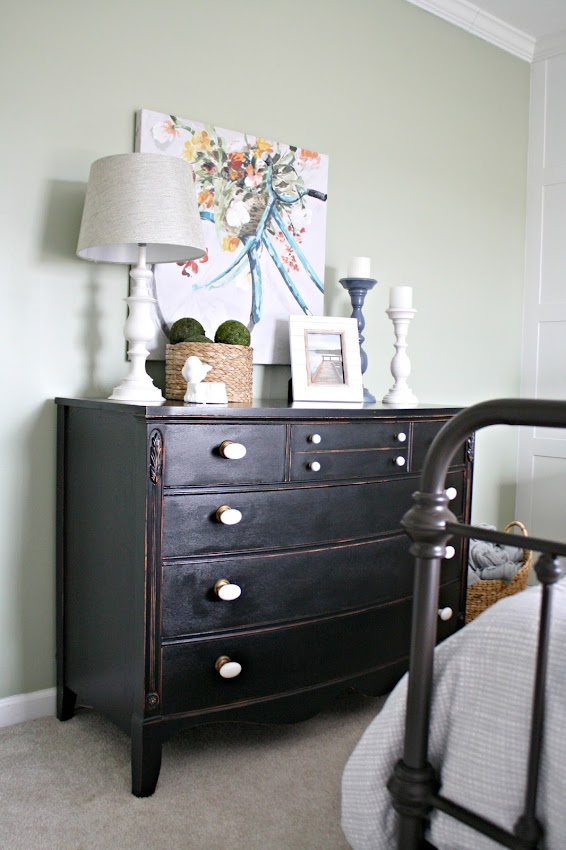 black dresser green walls