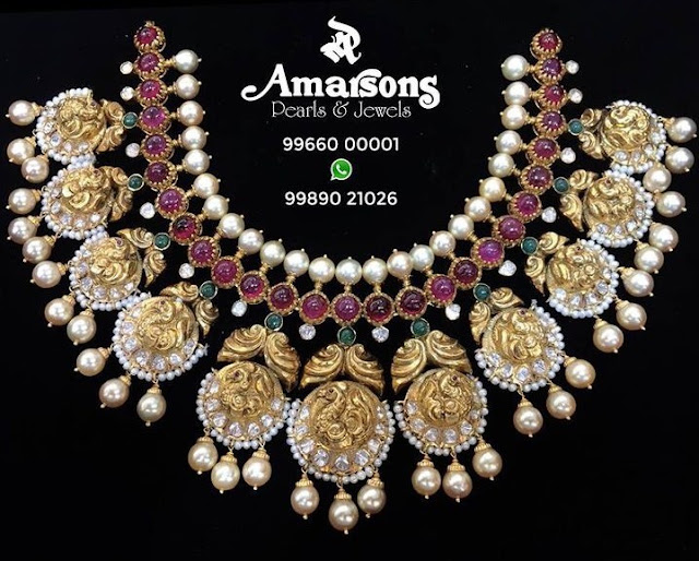 Peacock Ruby Choker by Amarsons