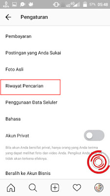 Setelah masuk di Pengaturan aplikasi Instagram, silakan kalian scroll atau gulir kebawah sampai ketemu Riwayat Pencarian