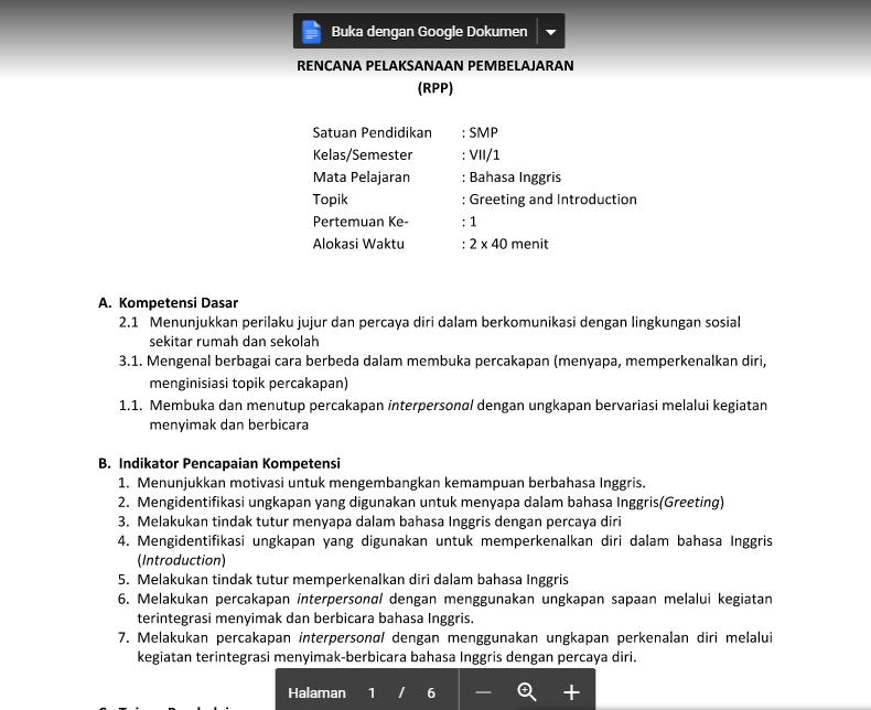 Download Rpp Bahasa Inggris Kls 1 Smp Semester 1 Tugas