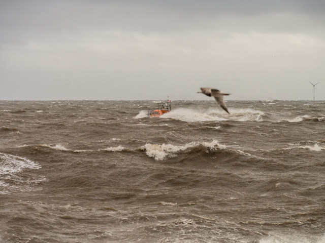 Photo of Workington lifeboat heading home through the waves