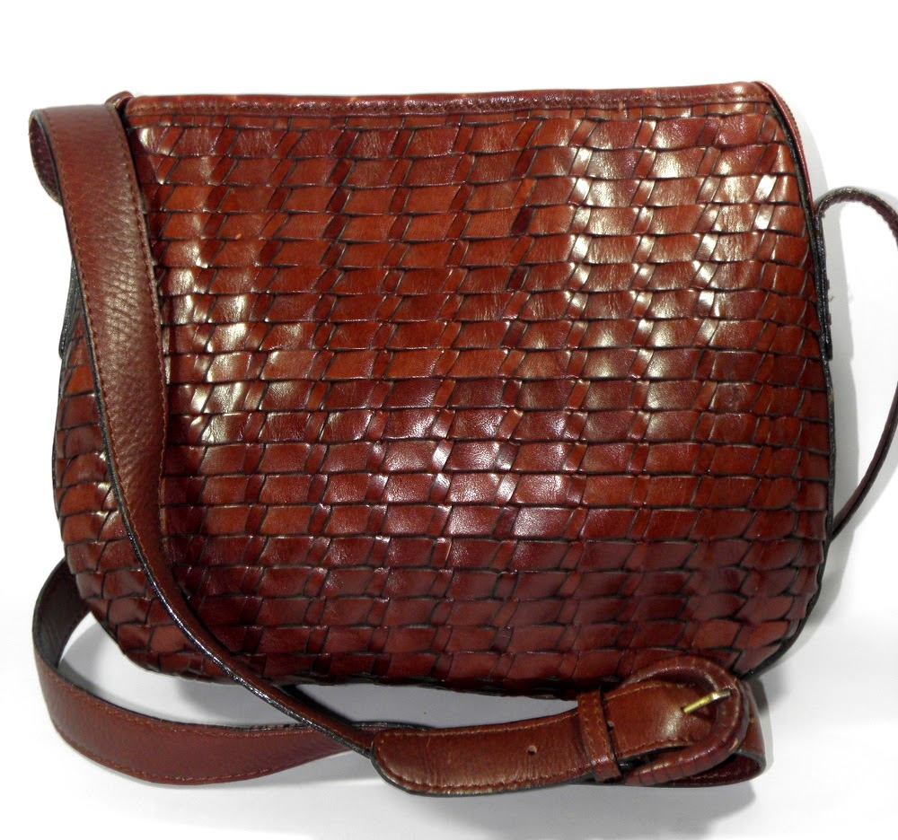 Vintage Fossil Basket Weave Shoulder Bag