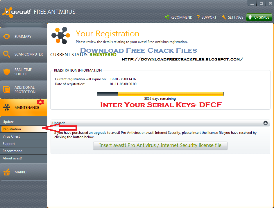 avast free antivirus offline registration license key