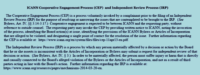 ICANN Cooperative Engagement Process (CEP) and Independent Review Process (IRP) defined