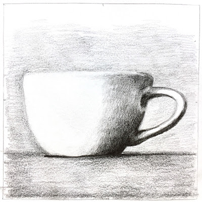 daily art - monochromatic colored pencil mug study in Canson XL Mix Media sketchbook