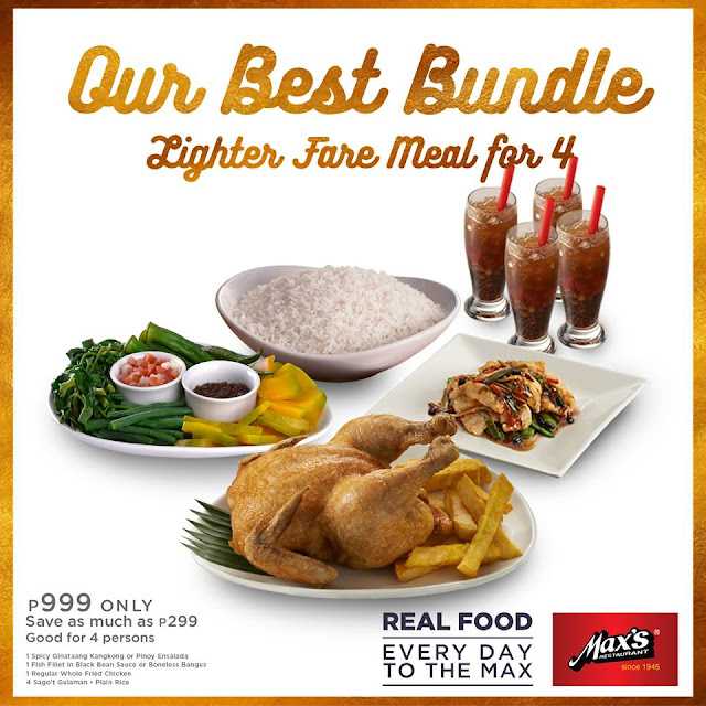 Max's restaurant, bundle meal for 4