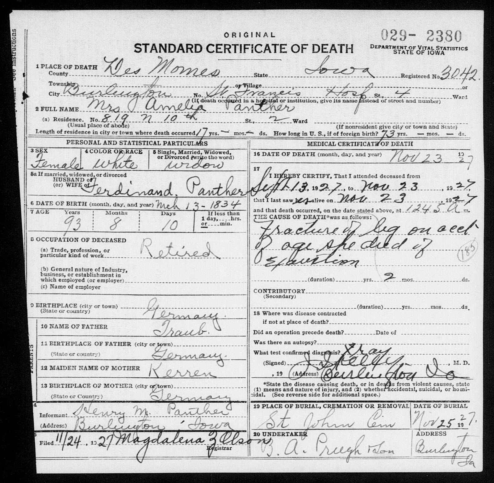 Matts genealogy blog family search iowa death certificates the wife of my great grandfathers brother amelia traub panther aiddatafo Images