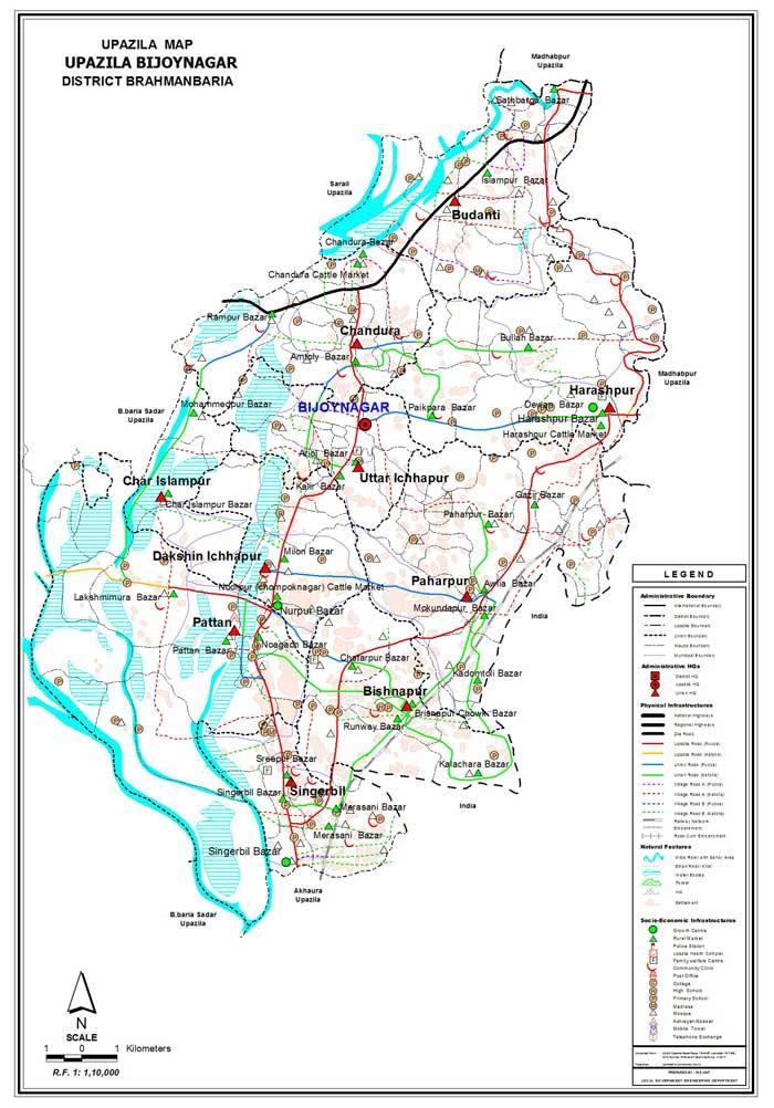 Bijoynagar Upazila Map Brahmanbaria District Bangladesh