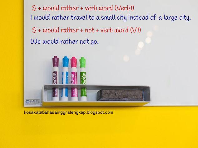contoh kalimat dengan kata would rather